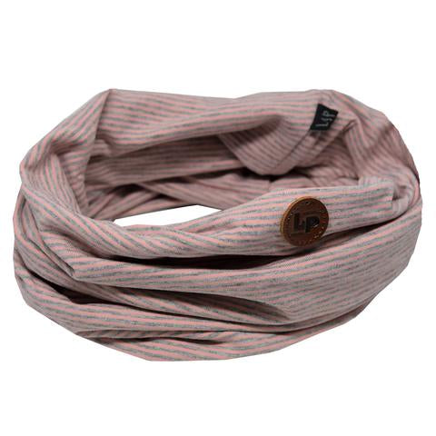 Cotton infinity scarf - Pink + Gray Striped