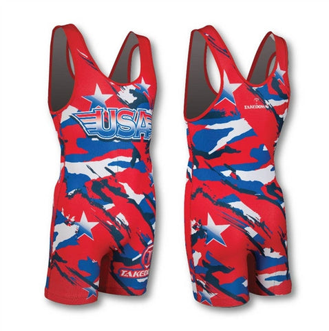 USA CAMO RED WRESTLING SINGLET