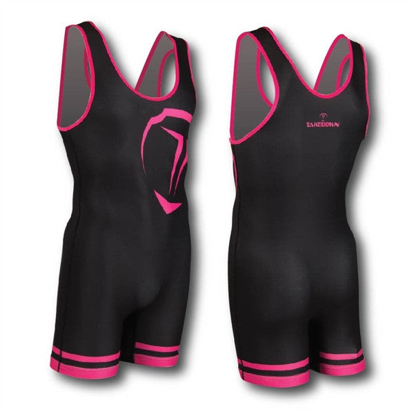 BLACK / HOT PINK WRESTLING SINGLET