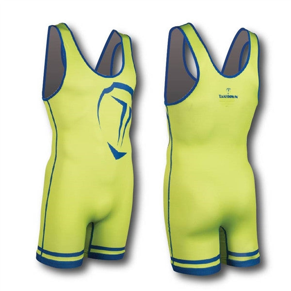 Lime and Royal Sublimated | Wrestling Singlets | Takedown Sportswear