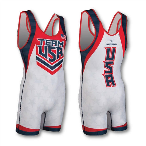TEAM USA WHITE WRESTLING SINGLET