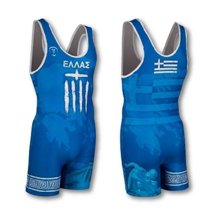 GREECE WRESTLING SINGLET (MADE TO ORDER)
