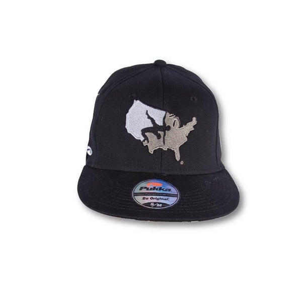 USA BLACK STRAIGHT BILL CAP
