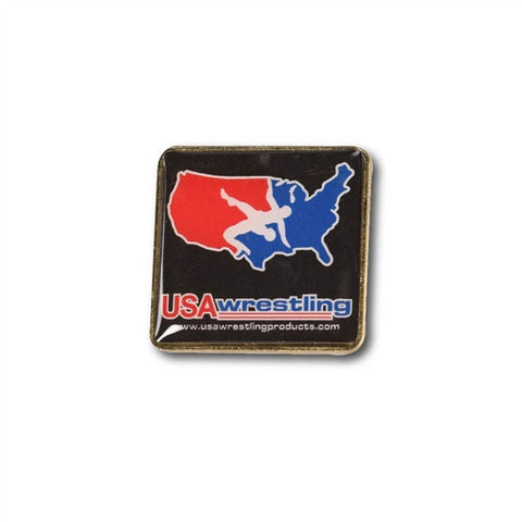 USA WRESTLING BLACK SQUARE PIN