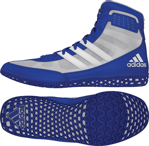 ADIDAS MAT WIZARD WRESTLING SHOES - ROYAL/GREY