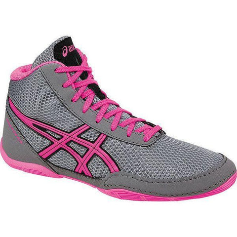 ASICS MATFLEX 5 GS YOUTH WRESTLING SHOE (GREY/HOT PINK/BLACK)