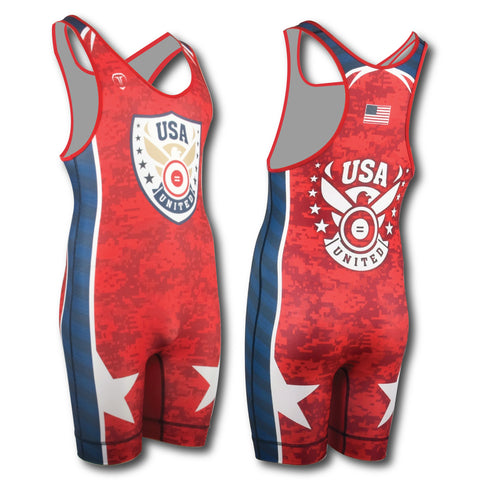 USA SHIELD RED WRESTLING SINGLET