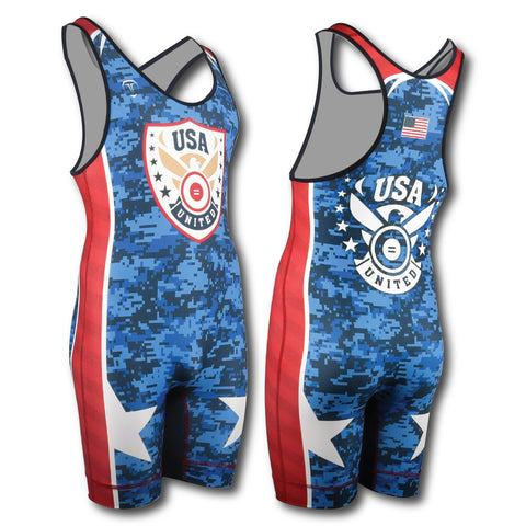 USA SHIELD ROYAL WRESTLING SINGLET