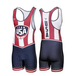 TEAM USA STARS & STRIPES WRESTLING SINGLET (MADE TO ORDER)