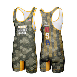 USA CAMO WRESTLING SINGLET (MADE TO ORDER)