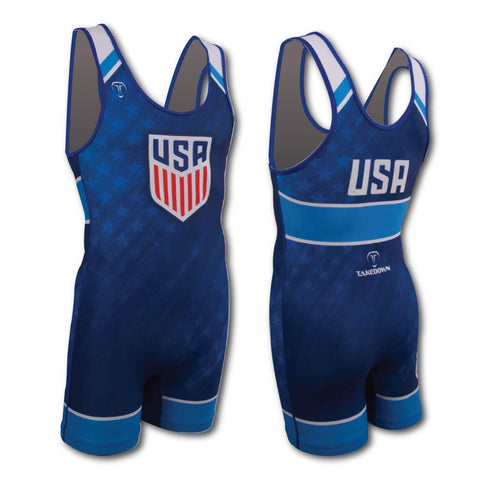 USA UWW BLUE WRESTLING SINGLET