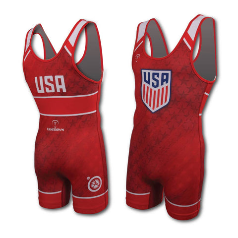USA UWW RED WRESTLING SINGLET