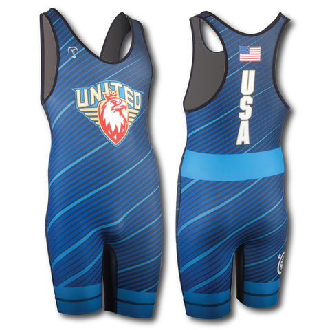 UWW FADED BLUE WRESTLING SINGLET