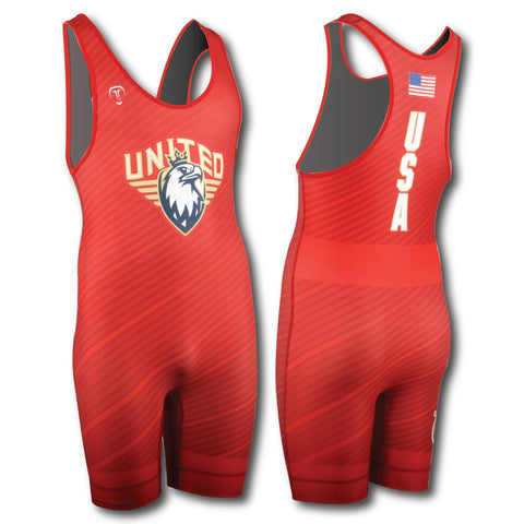 UWW FADED RED WRESTLING SINGLET