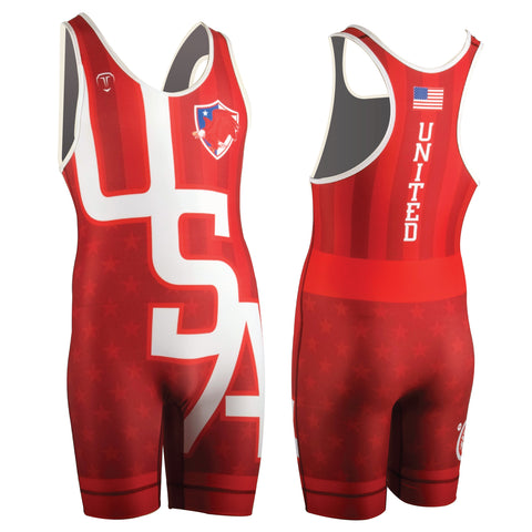 UWW USA RED WRESTLING SINGLET