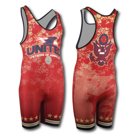 UNITED RED WRESTLING SINGLET