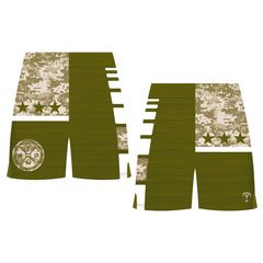 CAMO PATCH WRESTLING SHORTS (MADE TO ORDER - 4 COLOR OPTIONS)