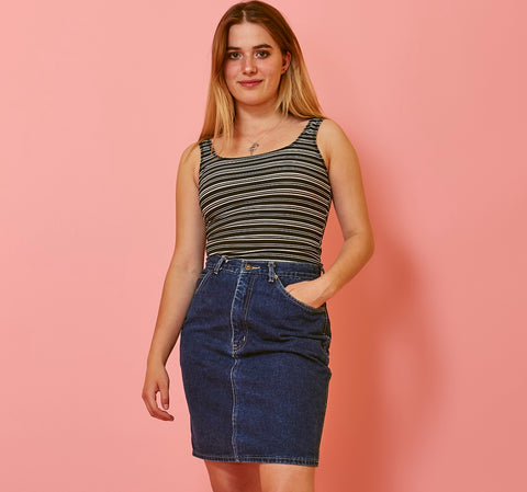 ccce83e7b3 Vintage denim skirts remain an essential item today in every style to suit  your taste.