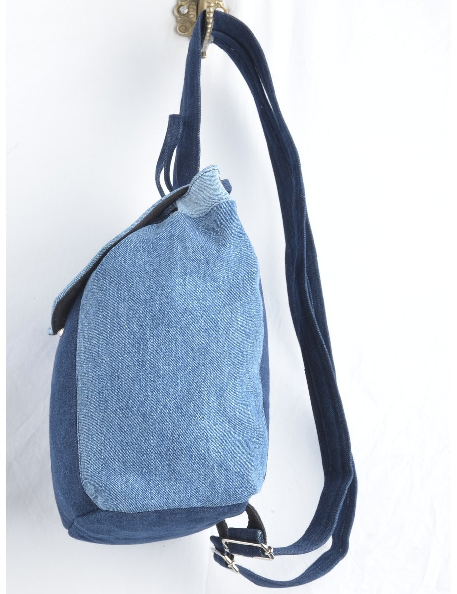 Beyond Retro Label Mixed Denim Backpack