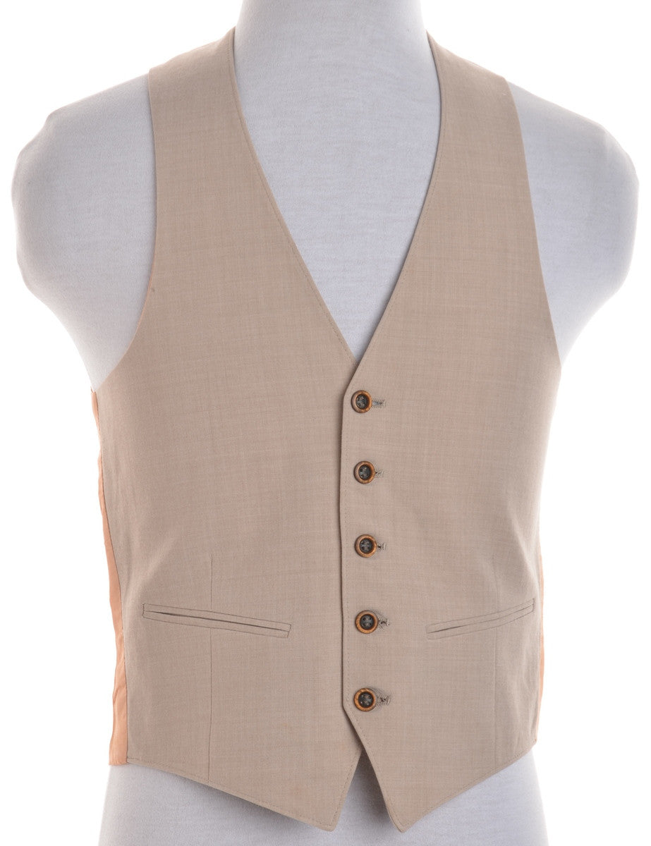 Waistcoat Beige With Full Lining