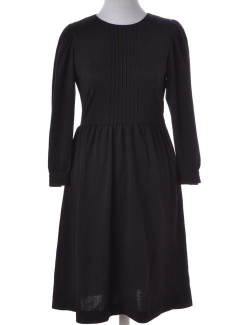Vintage Winter Dress Black With Pin Tucks