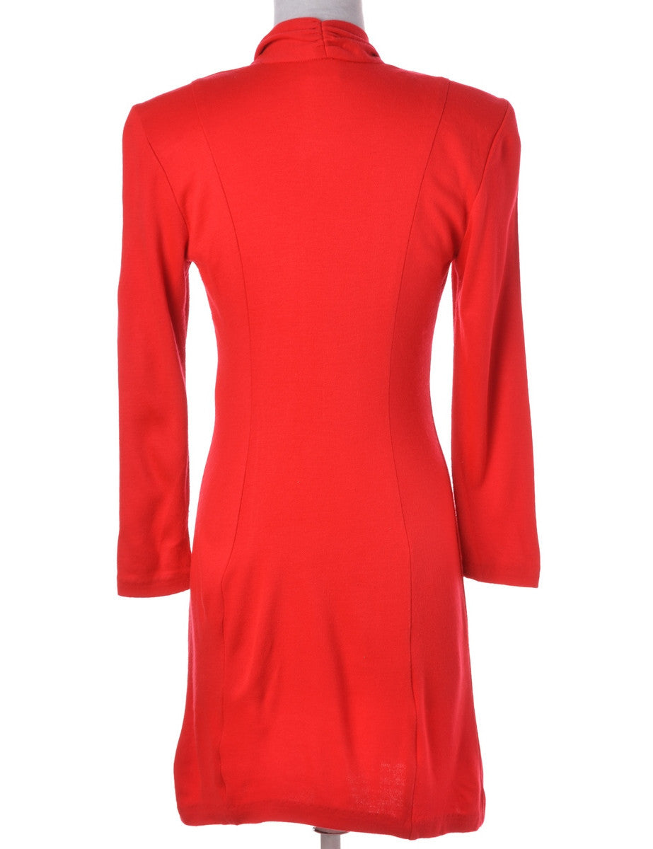 Winter Dress Red With Decorative Buttons