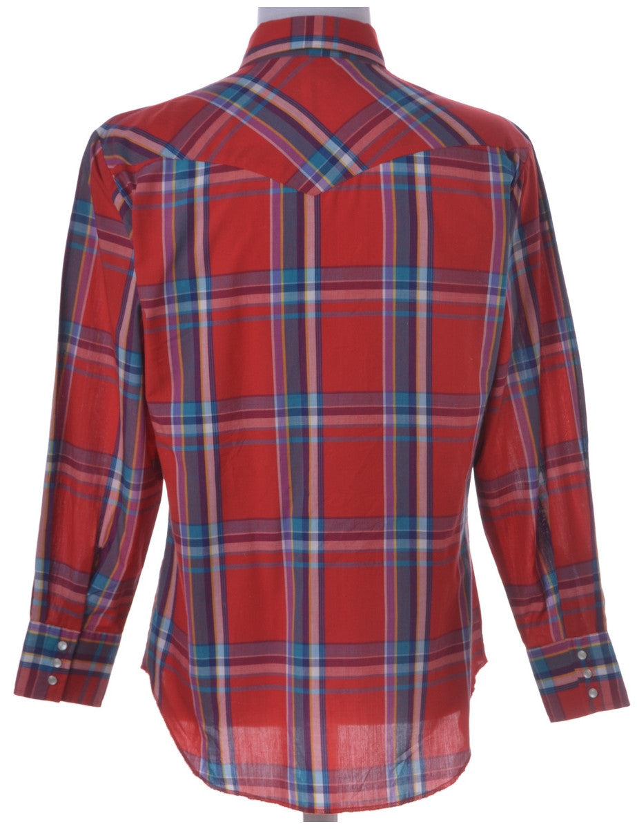 Western Shirt Red With Pearly Buttons