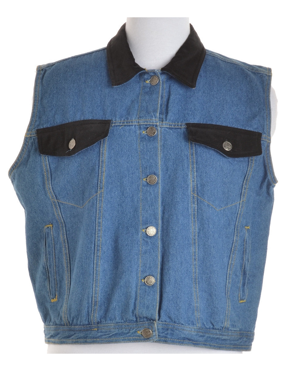Denim Jacket Stone Wash With Velvet Trim