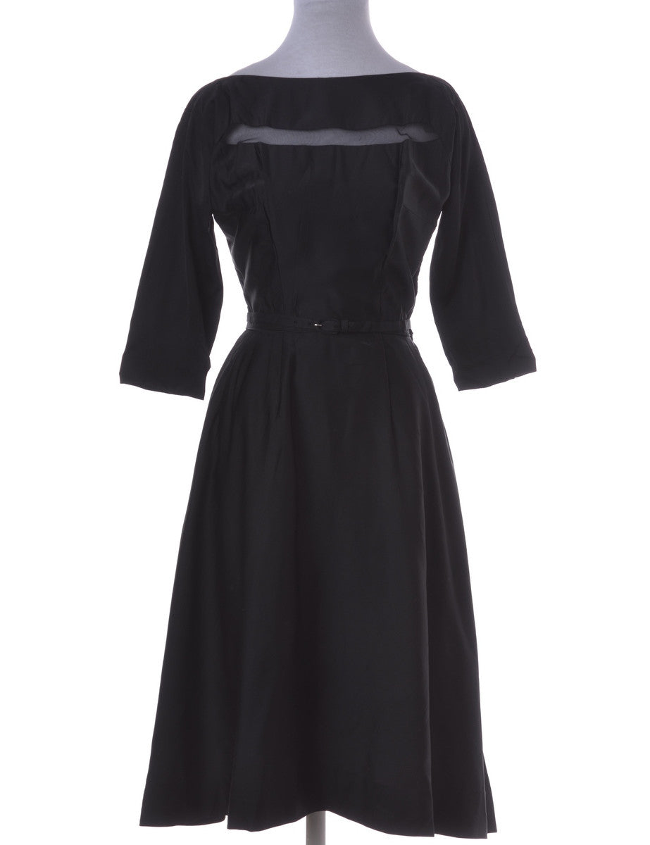 Vintage Day Dress Black With A Belt