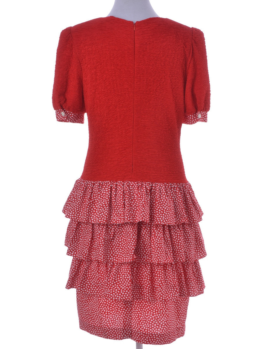 Day Dress Red With Contrasting Panels