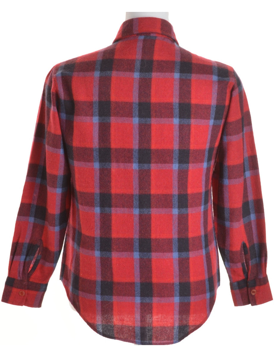 Checked Shirt Red With Pockets