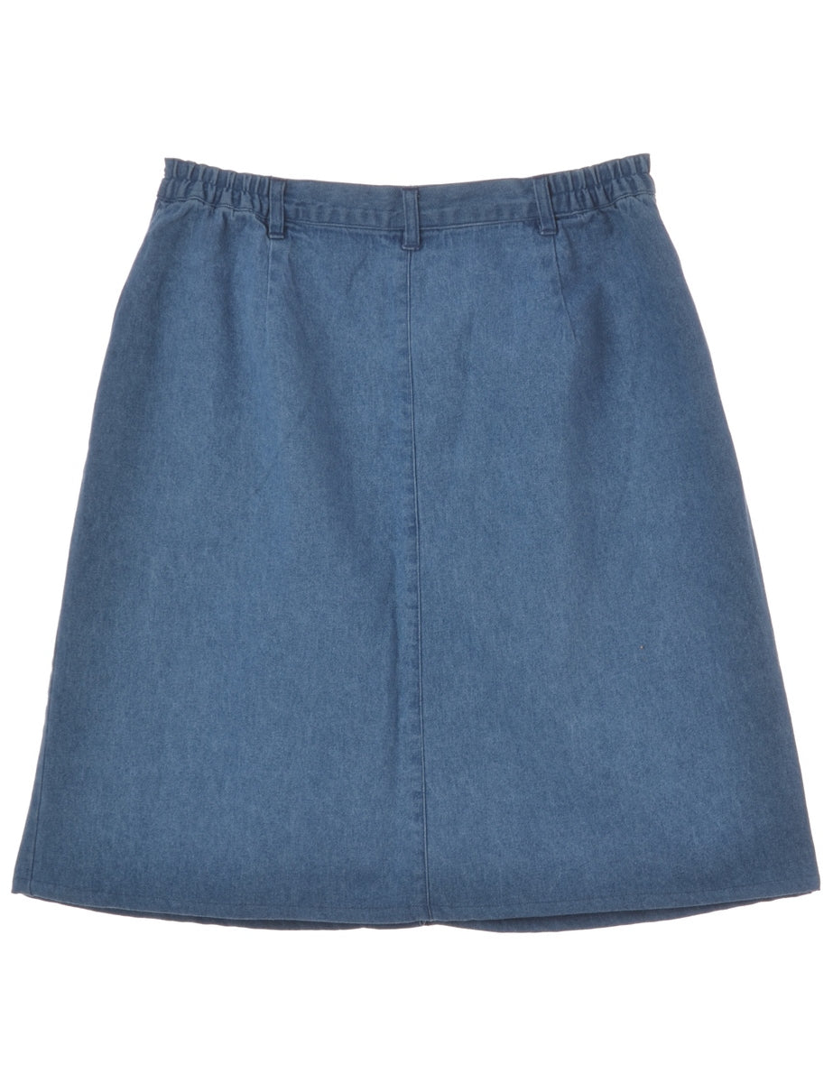 Washed Indigo Denim Skirt