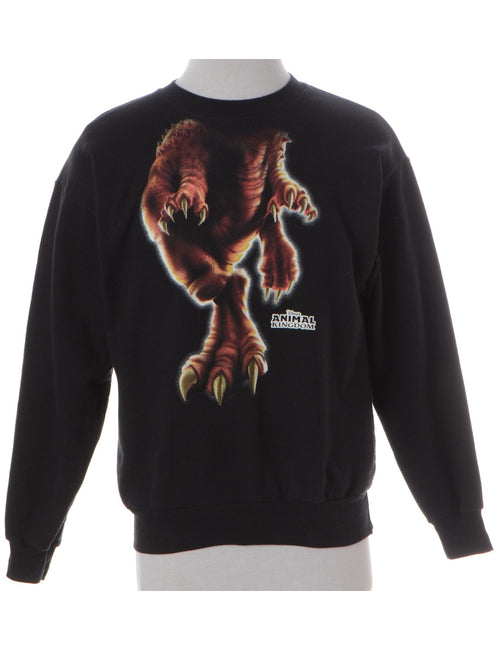 Animal Sweatshirt Black With A Round Neck