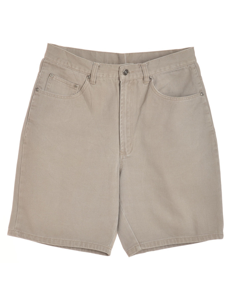 Denim Shorts Light Brown With Pockets