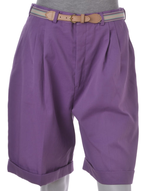 Vintage Plain Shorts Purple With Multiple Pockets