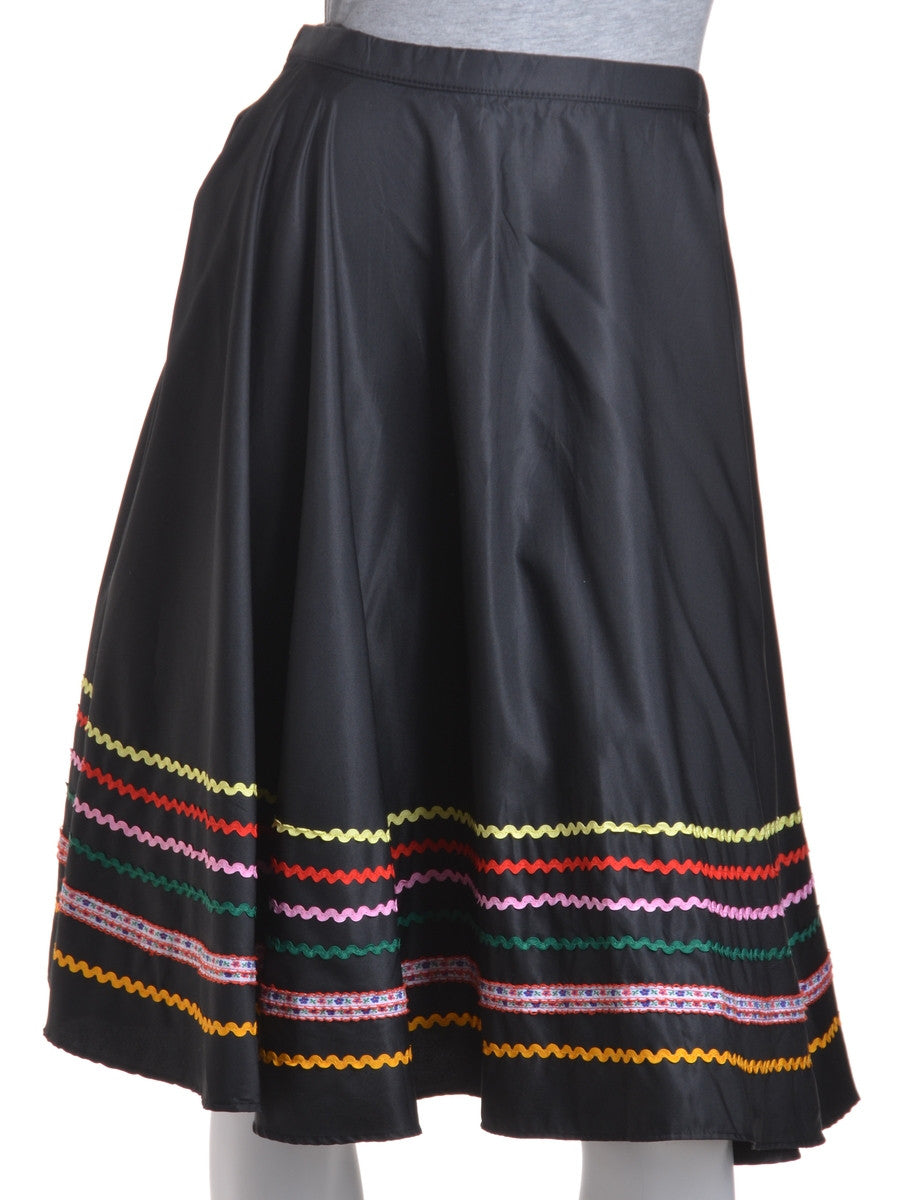 Midi Skirt Black With Contrasting Trim