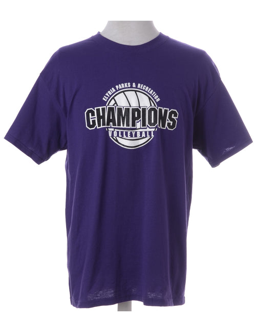 Sports T-shirt Purple With A Round Neck