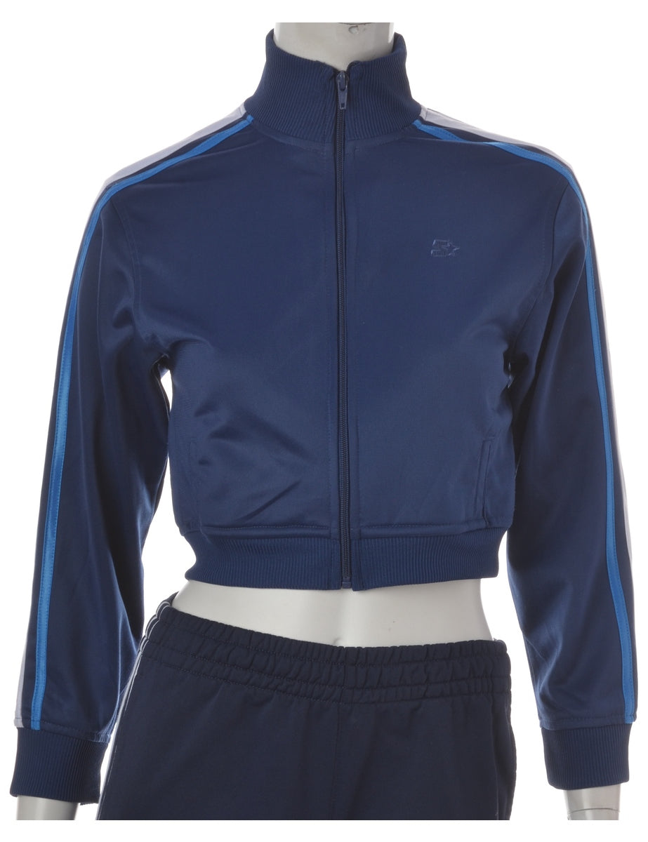 Navy Cropped Tracksuit Jacket