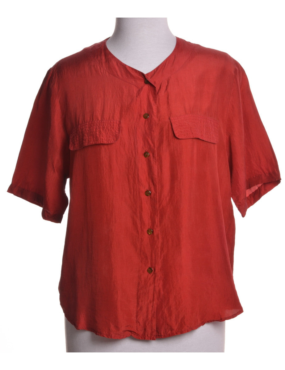 Vintage Blouse Red With Decorative Pockets