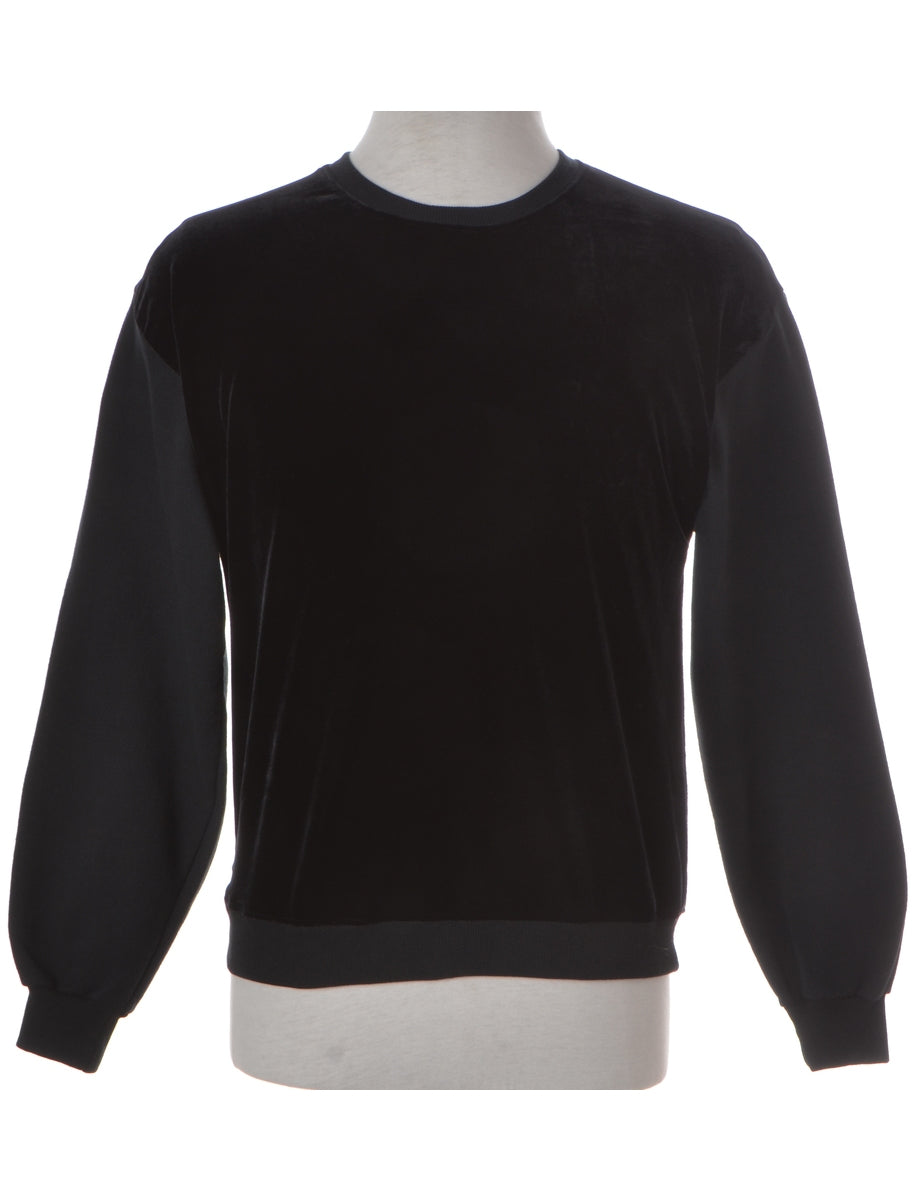 Label Velour Front Black Sweatshirt
