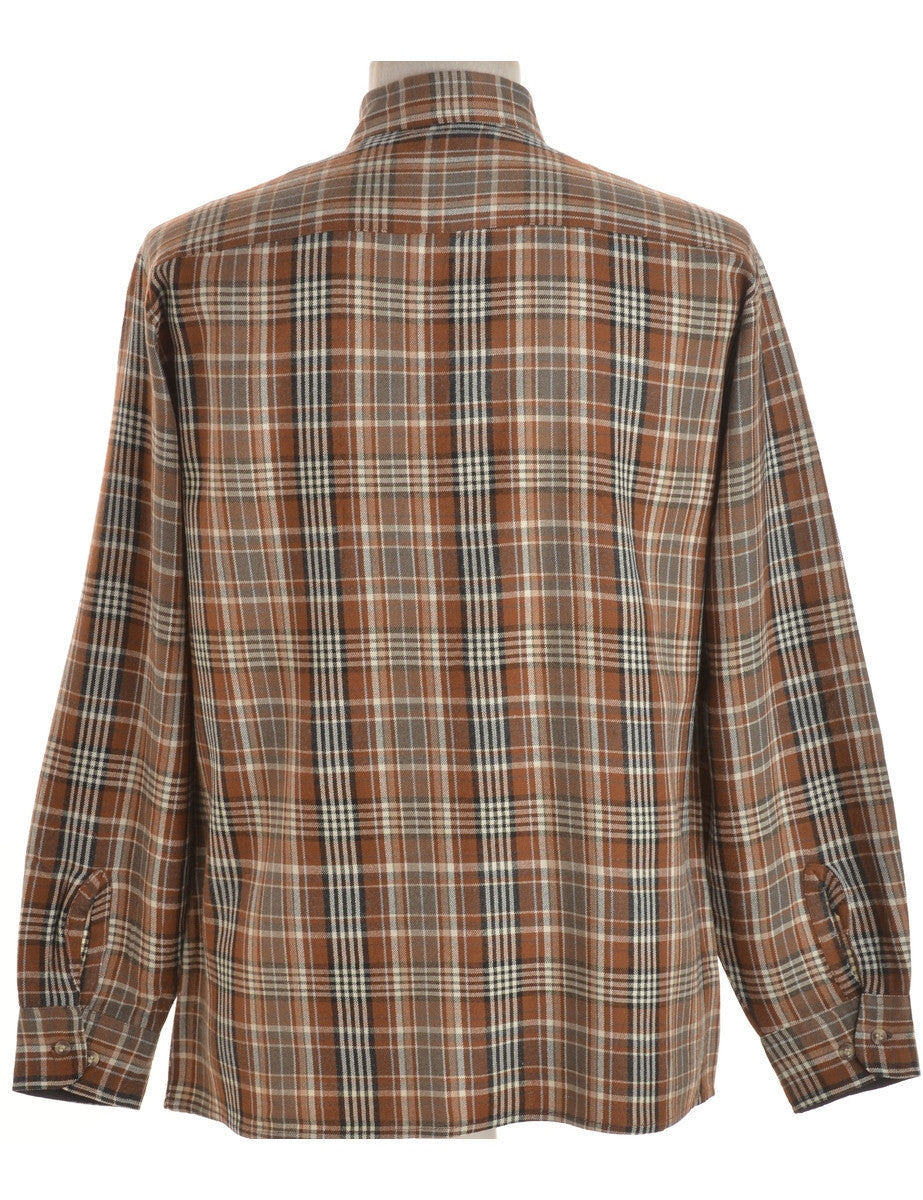 Checked Shirt Light Brown With Pockets