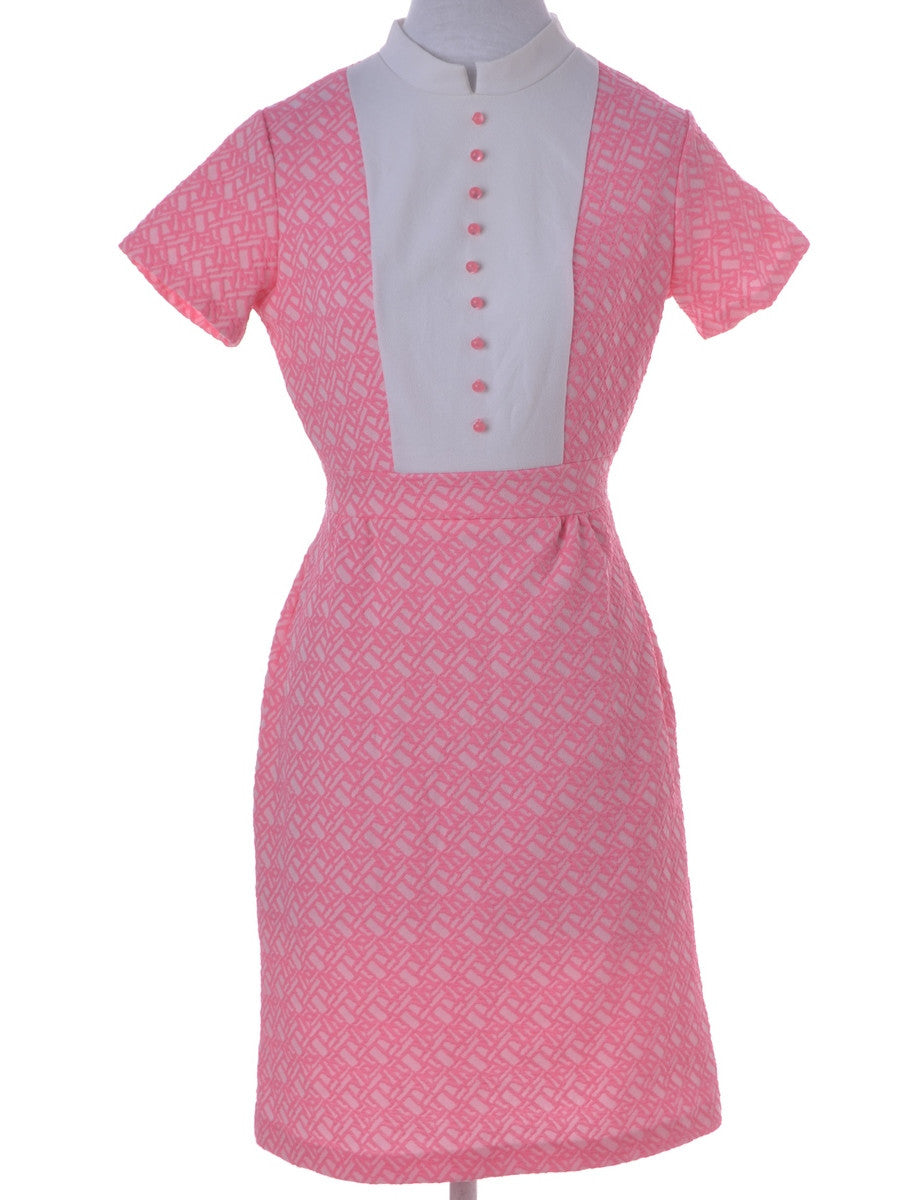 Vintage Day Dress Pink With Decorative Buttons