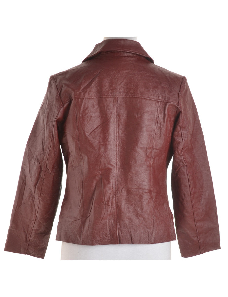 Leather Jacket Burgundy With Quilted Lining