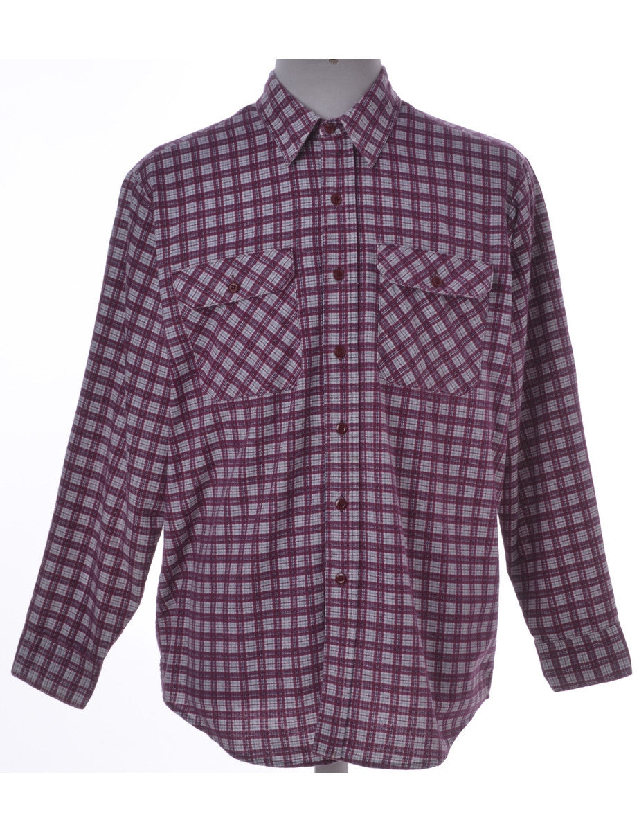 Checked Shirt Pink With Two Pockets