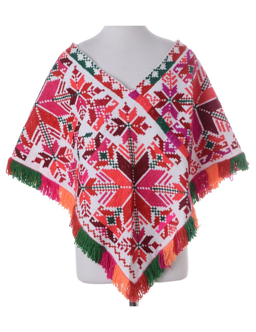 Vintage Poncho Multi-colour With A V-neck