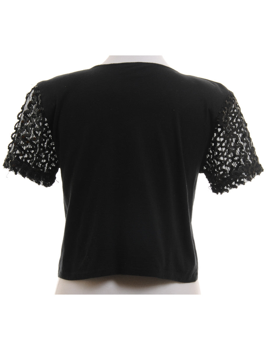 Vintage Party Top Black With Sequins