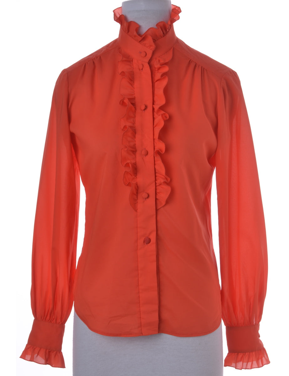 Blouse Red With Frills