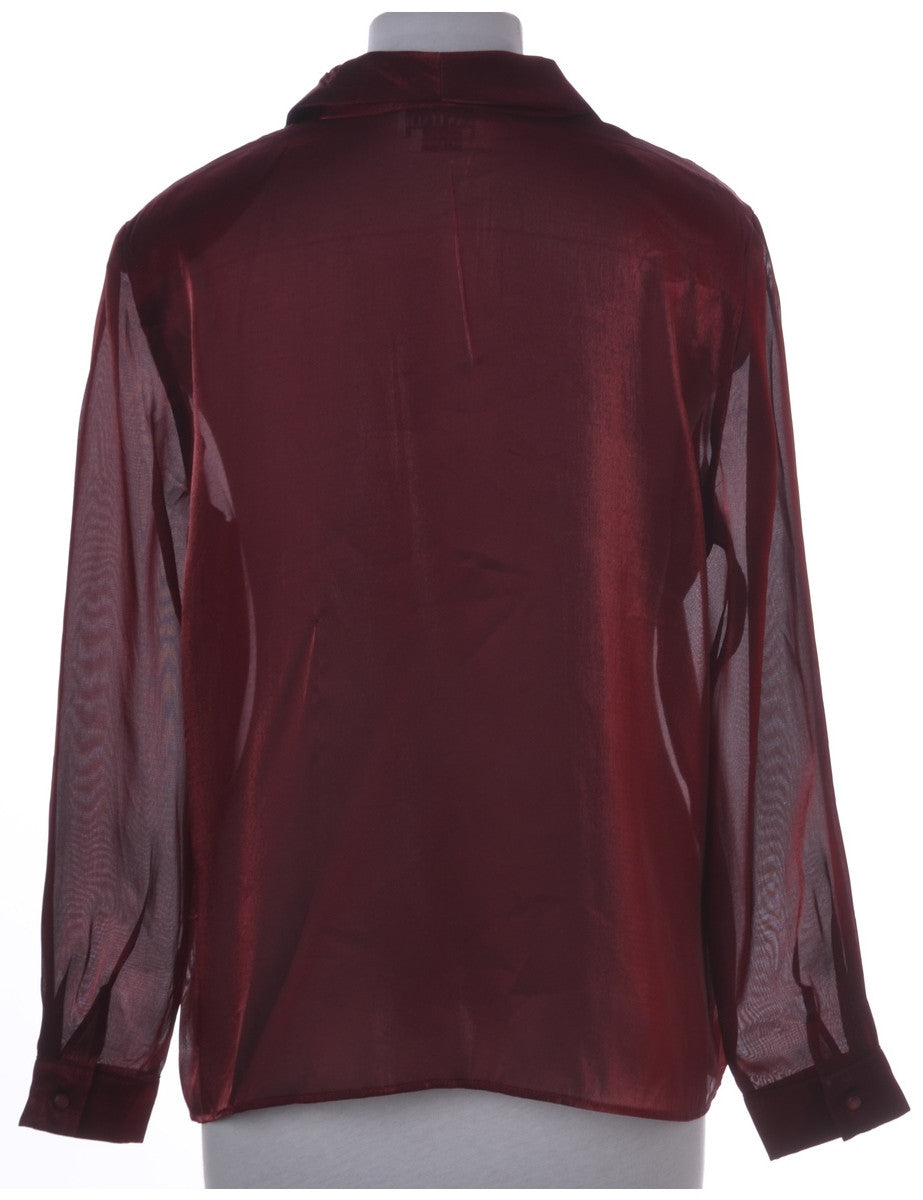 Blouse Burgundy With Removable Shoulder Pads