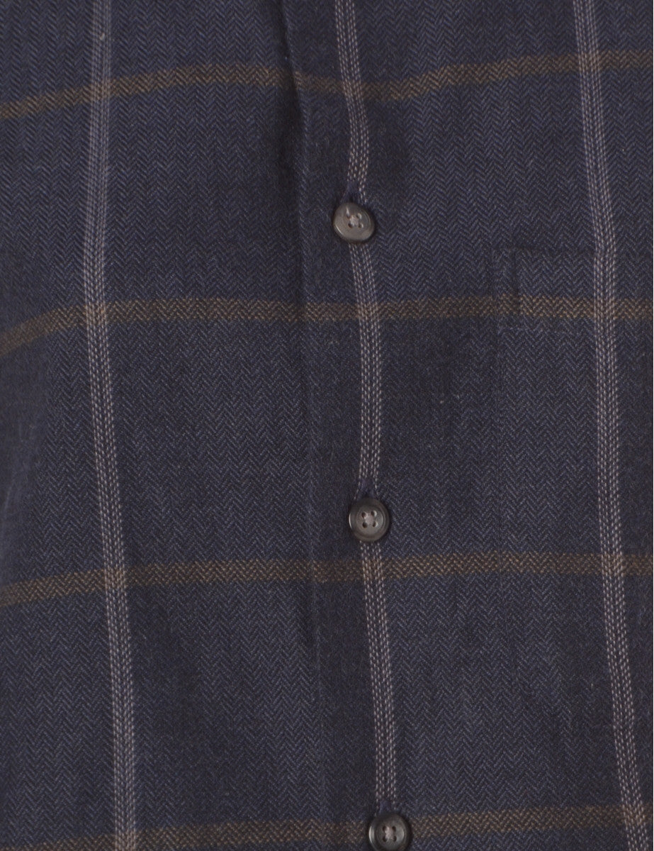 Beyond Retro Label Cropped Flannel Shirt Navy With A Button Down Collar