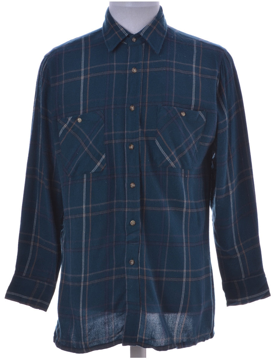 Checked Shirt Teal With Two Pockets